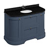 Burlington 134 2-Door/Drawer Curved Vanity Unit & Minerva Black Granite Worktop with Basin - Blue profile small image view 1
