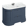 Burlington 134 2-Door/Drawer Curved Vanity Unit & Minerva Carrara White Worktop with Basin - Blue profile small image view 1