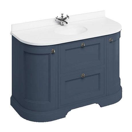 Burlington 134 2-Door/Drawer Curved Vanity Unit & Minerva White Worktop with Basin - Blue