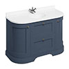 Burlington 134 2-Door/Drawer Curved Vanity Unit & Minerva White Worktop with Basin - Blue profile small image view 1