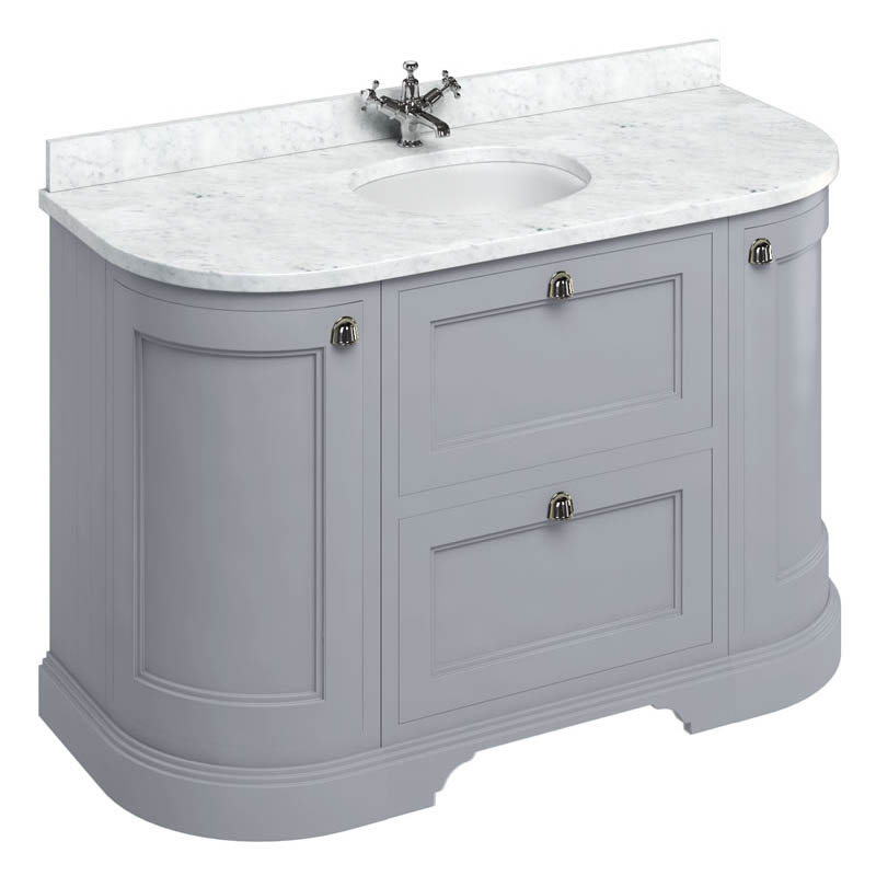 Burlington 134 2-Door/Drawer Curved Vanity Unit & Minerva Worktop with Basin - Classic Grey