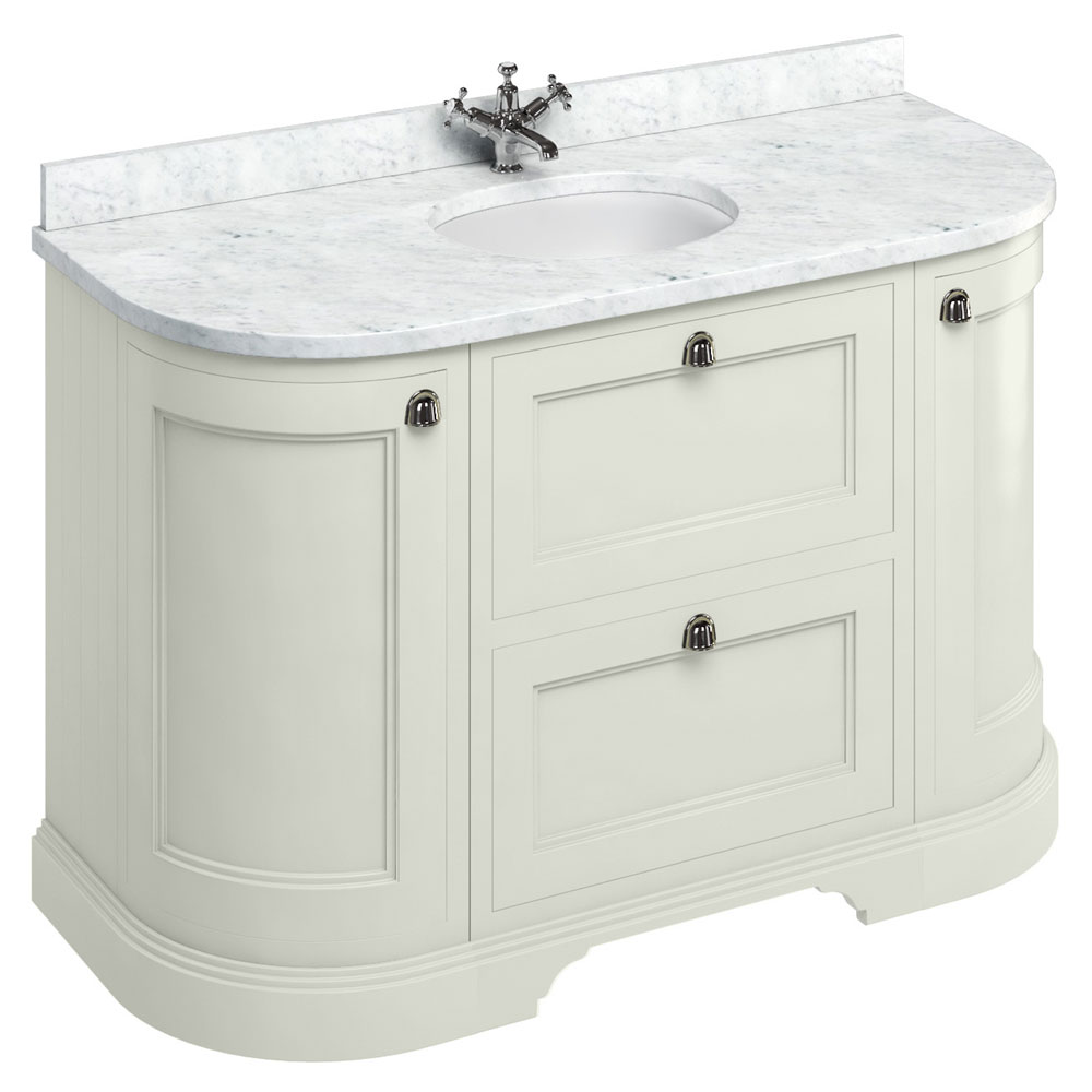 Burlington 134 2-Door/Drawer Curved Vanity Unit & Minerva Worktop with Basin - Sand Large Image