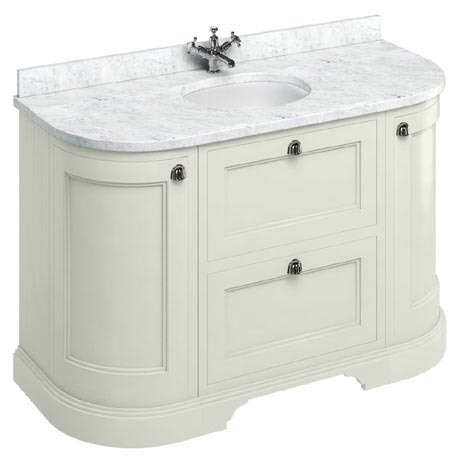 Burlington 134 2-Door/Drawer Curved Vanity Unit & Minerva Worktop with Basin - Sand