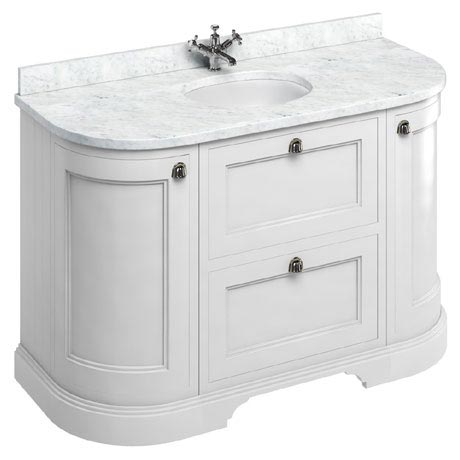Burlington 134 2-Door/Drawer Curved Vanity Unit & Minerva Worktop with Basin - Matt White