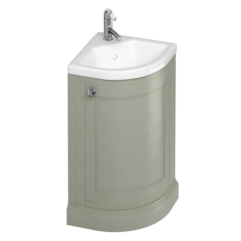 Burlington Freestanding 43cm Corner Vanity Unit & Basin - Dark Olive
