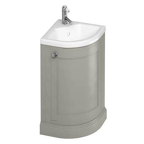 Burlington Freestanding 43cm Corner Vanity Unit & Basin - Dark Olive
