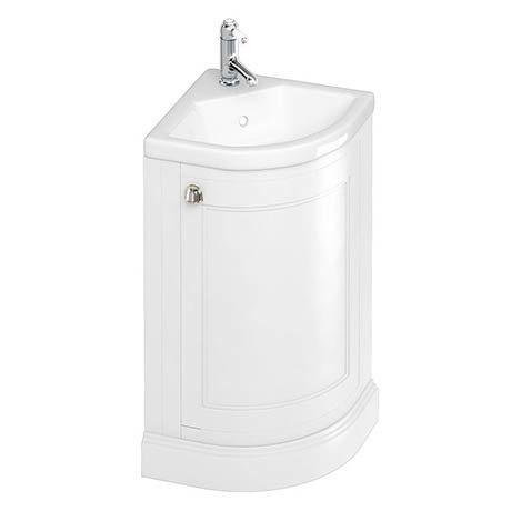 Burlington Freestanding 43cm Corner Vanity Unit & Basin - Matt White