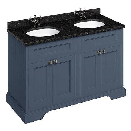 Burlington 130 4-Door Vanity Unit & Minerva Black Granite Worktop with Double Basin - Blue