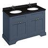 Burlington 130 4-Door Vanity Unit & Minerva Black Granite Worktop with Double Basin - Blue profile small image view 1