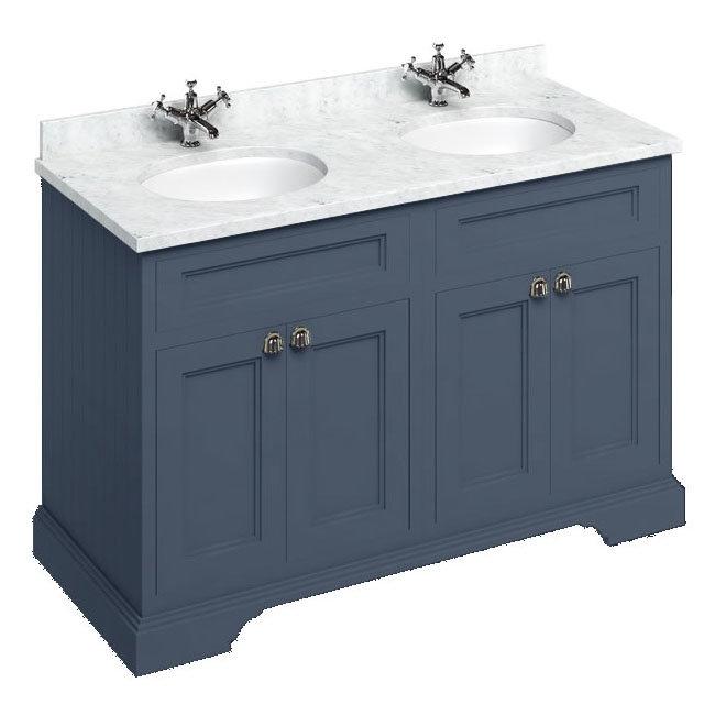 Burlington 130 4-Door Vanity Unit & Minerva Carrara White Worktop with Double Basin - Blue