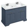 Burlington 130 4-Door Vanity Unit & Minerva Carrara White Worktop with Double Basin - Blue profile small image view 1