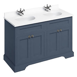 Burlington 130 4-Door Vanity Unit & Minerva White Worktop with Double Basin - Blue
