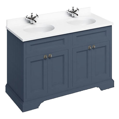 Burlington 130 4-Door Vanity Unit & Minerva White Worktop with Double Basin - Blue