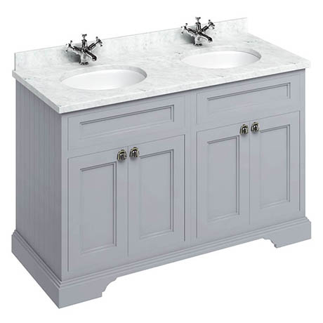 Burlington 130 4-Door Vanity Unit & Minerva Worktop with Double Basin - Classic Grey
