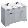 Burlington 130 4-Door Vanity Unit & Minerva Worktop with Double Basin - Classic Grey profile small image view 1