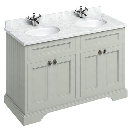 Burlington 130 4-Door Vanity Unit & Minerva Worktop with Double Basin - Dark Olive