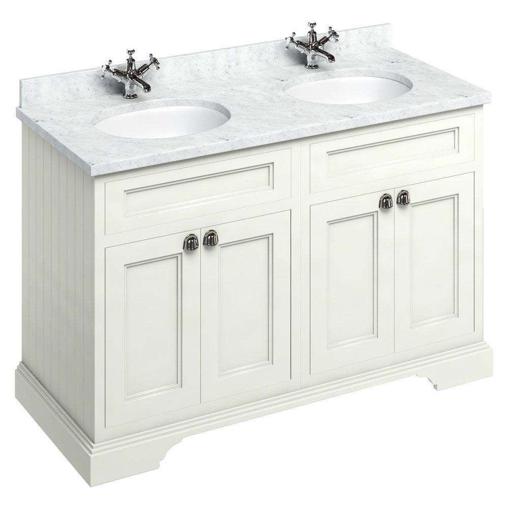Burlington 130 4-Door Vanity Unit & Minerva Worktop with Double Basin - Sand profile large image view 1