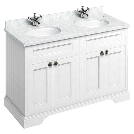 Burlington 130 4-Door Vanity Unit & Minerva Worktop with Double Basin - Matt White