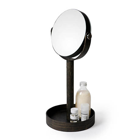Freestanding Cosmetic Mirror Dark Oak