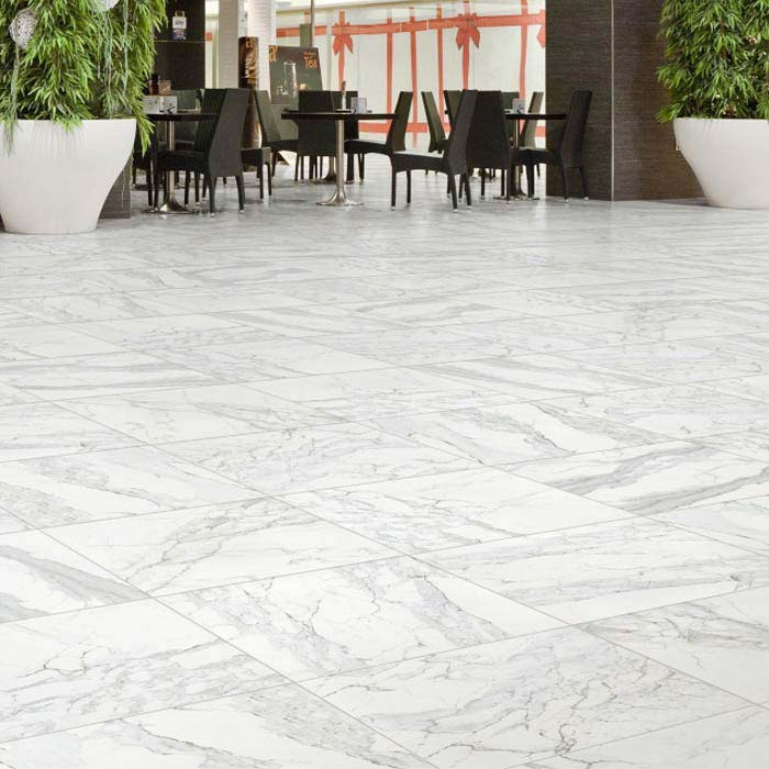 Florence Marbled White Floor Tile (Matt - 450 x 450mm) Large Image