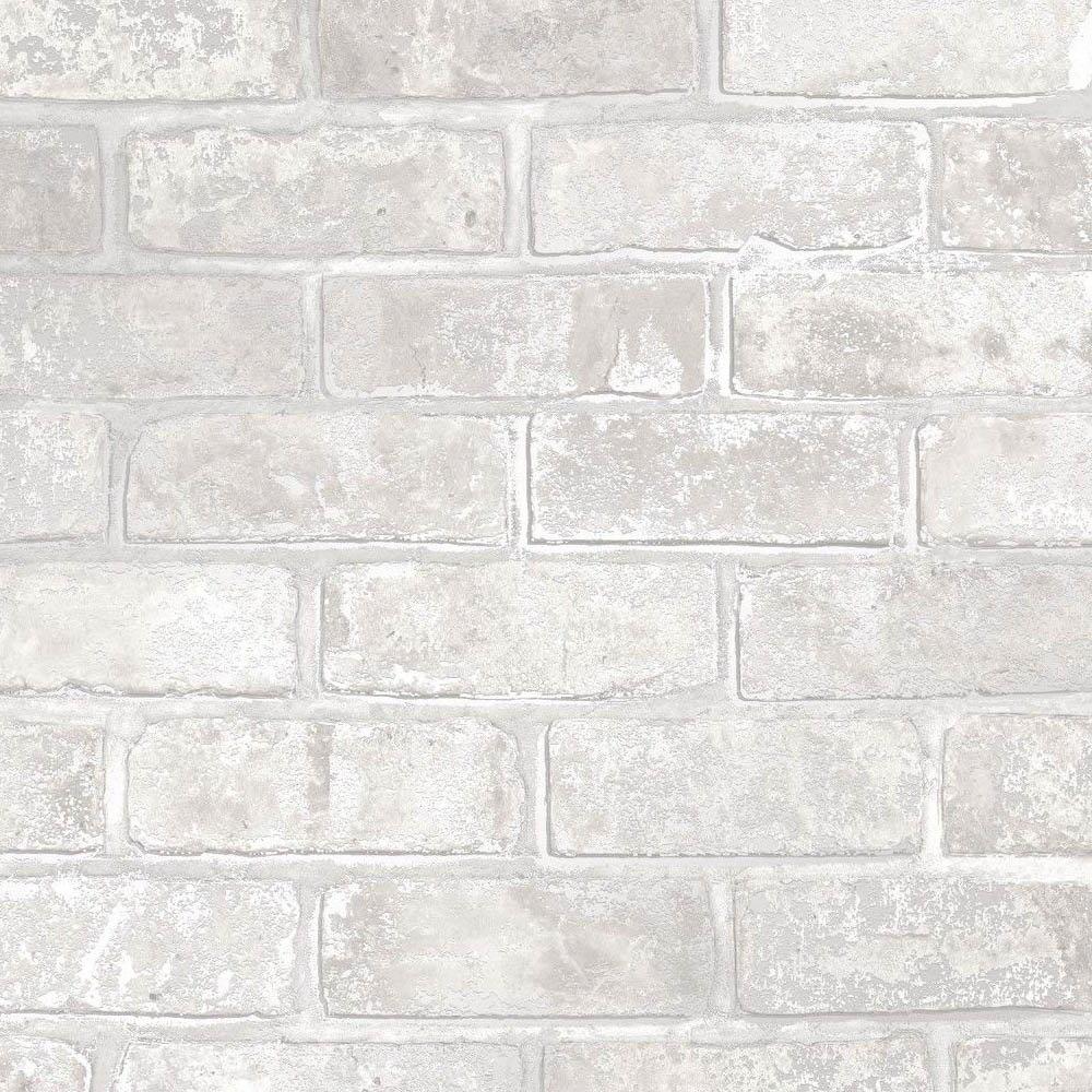 Fine Decor Loft Brick White Metallic Wallpaper