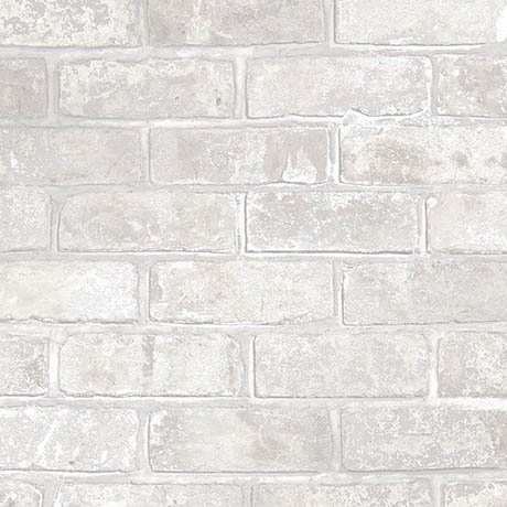Fine Decor Loft Brick White Metallic Wallpaper
