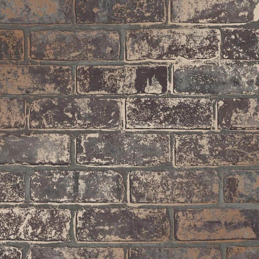 Fine Decor Loft Brick Brown Metallic Wallpaper