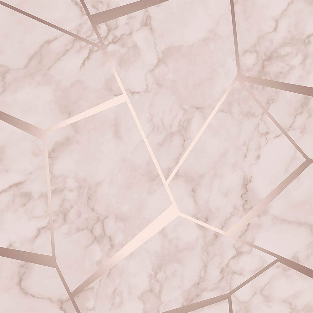Fine Decor Marblesque Fractal Rose Gold Metallic Wallpaper