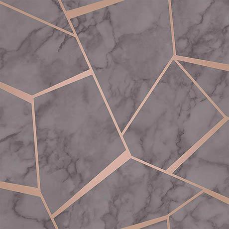 Fine Decor Marblesque Fractal Charcoal Metallic Wallpaper
