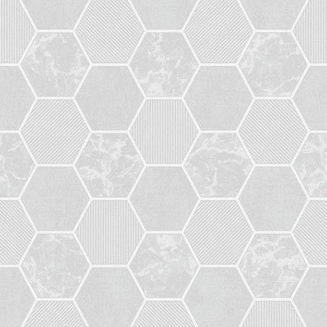 Fine Decor Ceramica Hex Grey & Silver Wallpaper