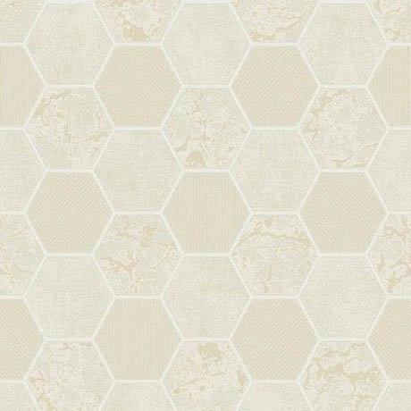 Fine Decor Ceramica Hex Cream & Gold Wallpaper