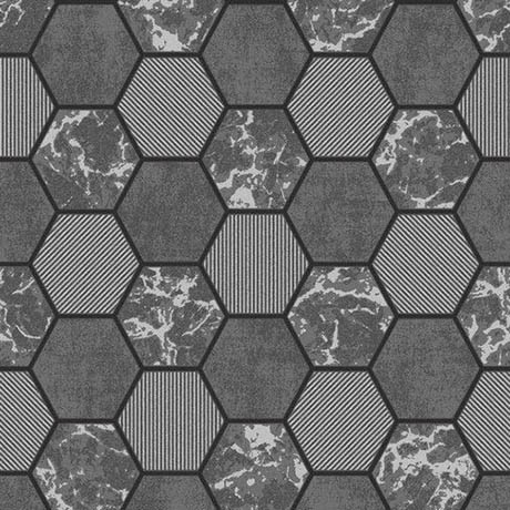 Fine Decor Ceramica Hex Black & Silver Wallpaper