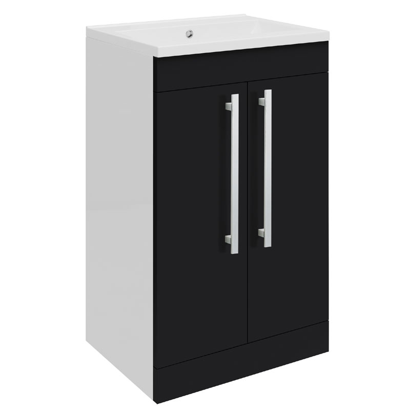 Ultra - Design Compact Floor Mounted Unit w/ Basin W494 x D383mm - High Gloss Black - FDE021 Large Image