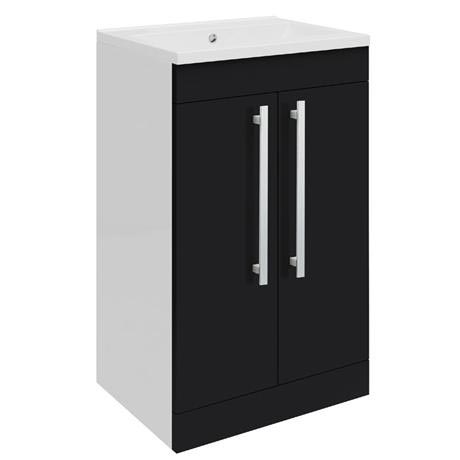 Ultra - Design Compact Floor Mounted Unit w/ Basin W494 x D383mm - High Gloss Black - FDE021
