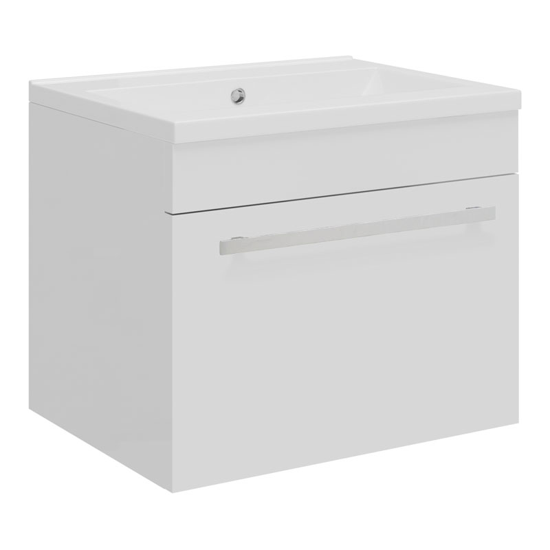 Ultra - Design Compact Wall Mounted Basin & Cabinet W500 x D383mm - High Gloss White - FDE026 Large Image