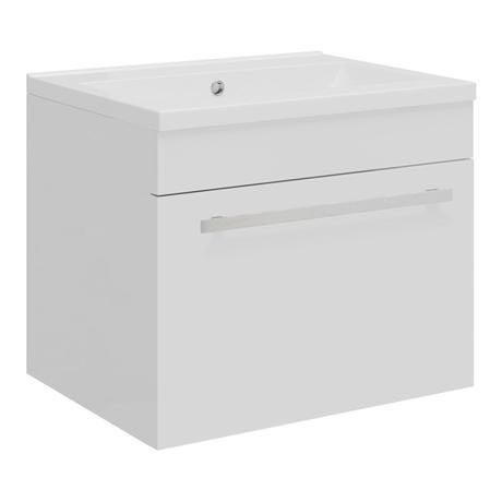 Ultra - Design Compact Wall Mounted Basin & Cabinet W500 x D383mm - High Gloss White - FDE026