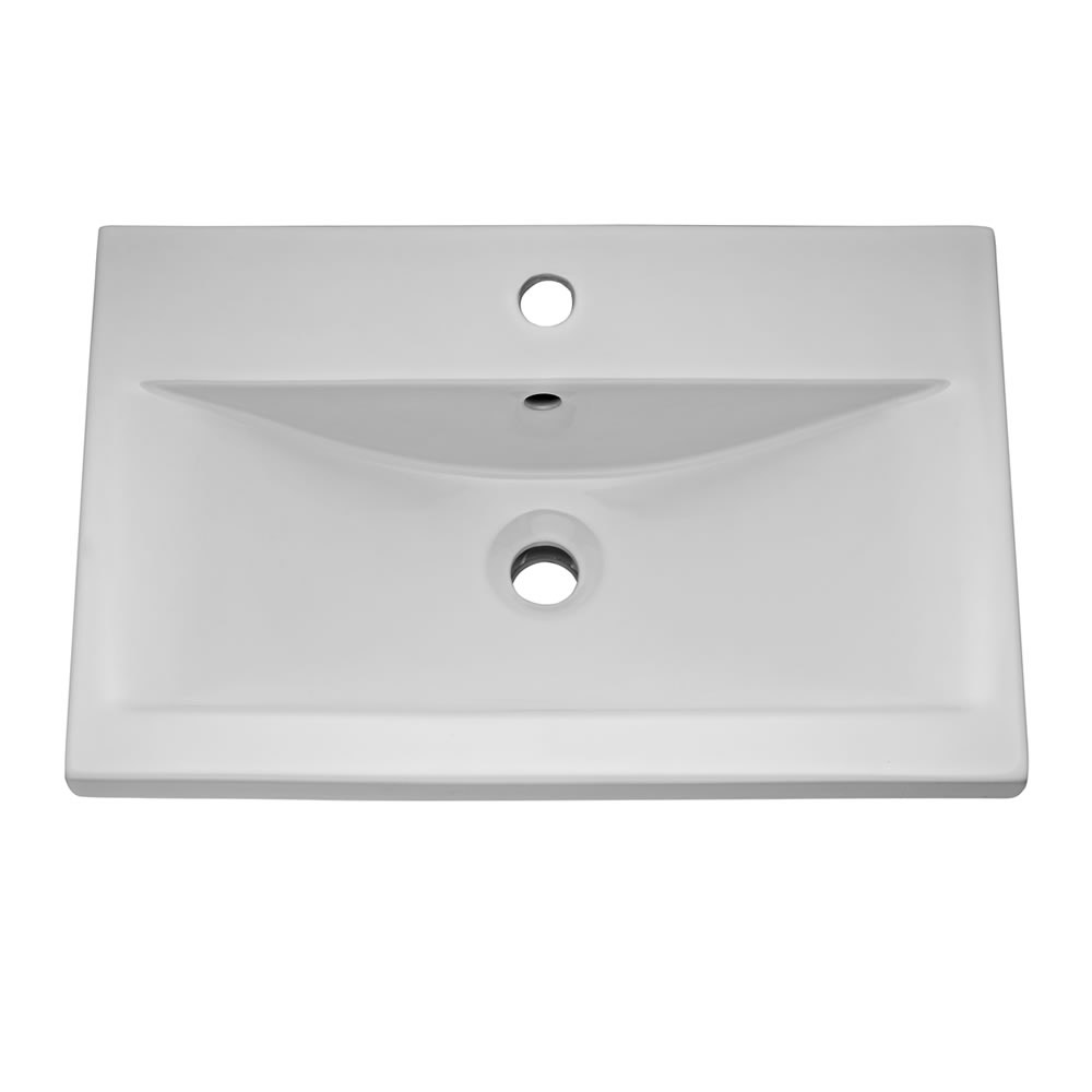 Ultra - Design Compact Wall Mounted Basin & Cabinet W500 x D383mm - High Gloss Black - FDE027 profile large image view 2