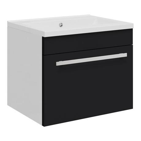 Ultra - Design Compact Wall Mounted Basin & Cabinet W500 x D383mm - High Gloss Black - FDE027