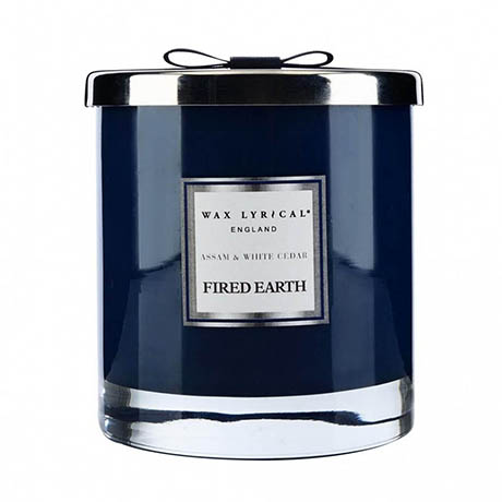 Wax Lyrical Fired Earth Assam & White Cedar Large 2 Wick Scented Candle