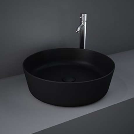 RAK Feeling 420mm 0TH Slim Round Counter Top Wash Basin - Matt Black - FEECT4200504A