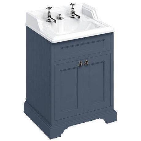 Burlington 65 2-Door Vanity Unit & Classic Invisible Overflow/Waste Basin (Blue - 2 Tap Hole)
