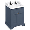 Burlington 65 2-Door Vanity Unit & Classic Invisible Overflow/Waste Basin (Blue - 2 Tap Hole) profile small image view 1