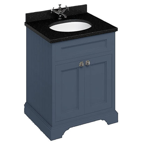 Burlington 65 2-Door Vanity Unit & Minerva Black Granite Worktop with Basin - Blue