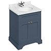 Burlington 65 2-Door Vanity Unit & Minerva Carrara White Worktop with Basin - Blue profile small image view 1
