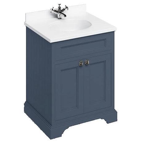 Burlington 65 2-Door Vanity Unit & Minerva Carrara White Worktop with Basin - Blue