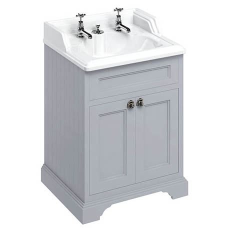 Burlington 65 2-Door Vanity Unit & Classic Invisible Overflow/Waste Basin (Classic Grey - 2 Tap Hole