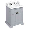 Burlington 65 2-Door Vanity Unit & Classic Invisible Overflow/Waste Basin (Classic Grey - 2 Tap Hole) profile small image view 1