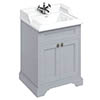 Burlington 65 2-Door Vanity Unit & Classic Basin - Classic Grey profile small image view 1