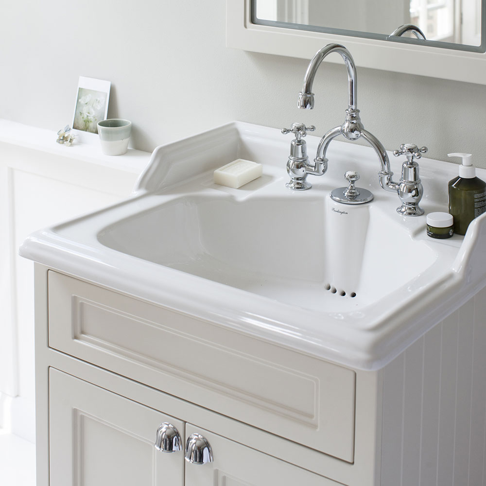 Burlington 65 2-Door Vanity Unit & Classic Invisible Overflow/Waste Basin (Matt White - 2 Tap Hole) Feature Large Image