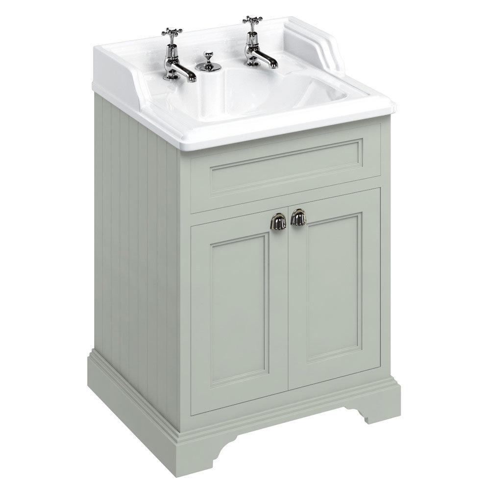 Burlington 65 2-Door Vanity Unit & Classic Invisible Overflow/Waste Basin (Dark Olive - 2 Tap Hole) Large Image